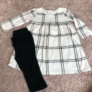 Old Navy dress and ruffled butt leggings